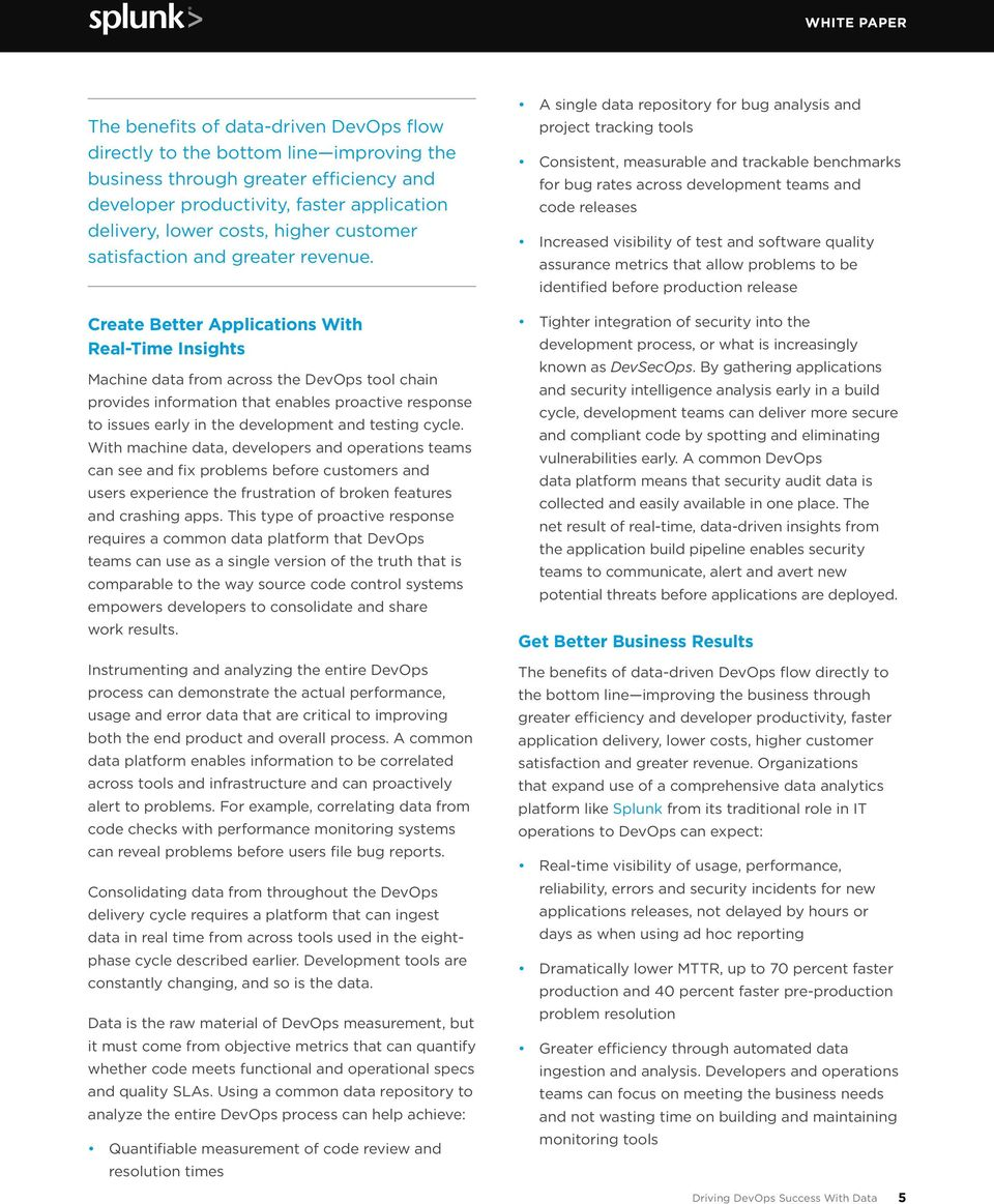 WHITE PAPER DRIVING DEVOPS SUCCESS WITH DATA - PDF