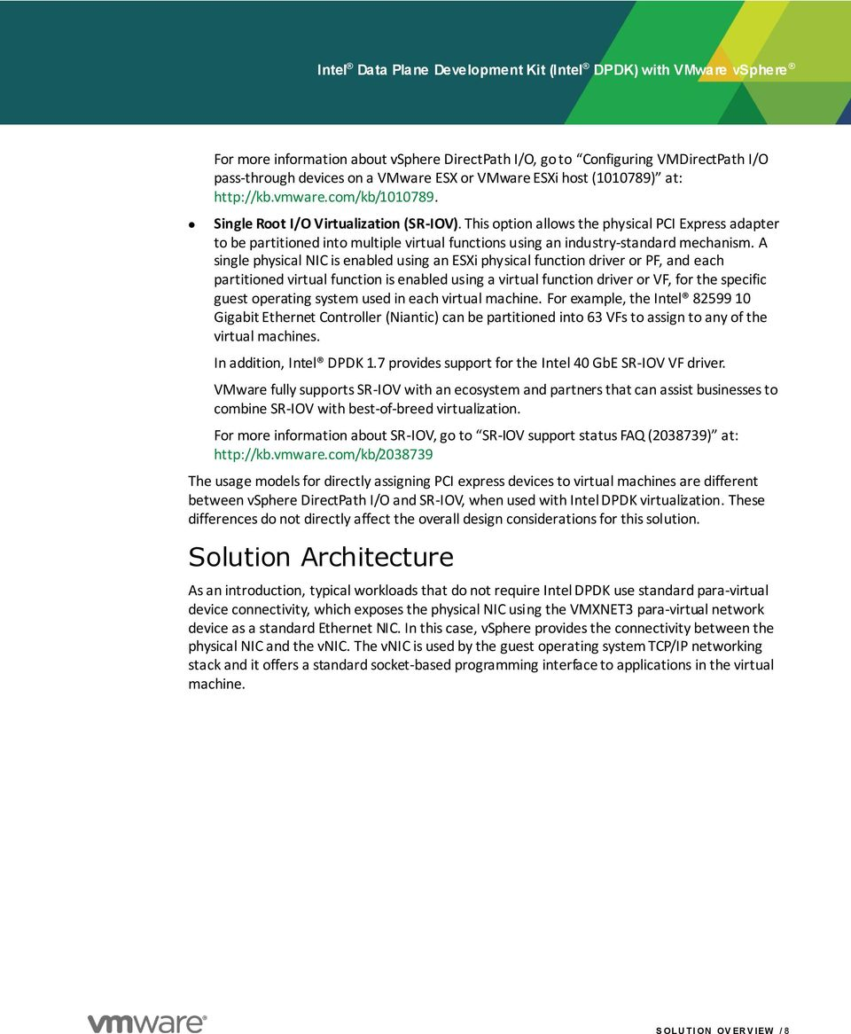 Intel Data Plane Development Kit (Intel DPDK) with VMware vsphere - PDF