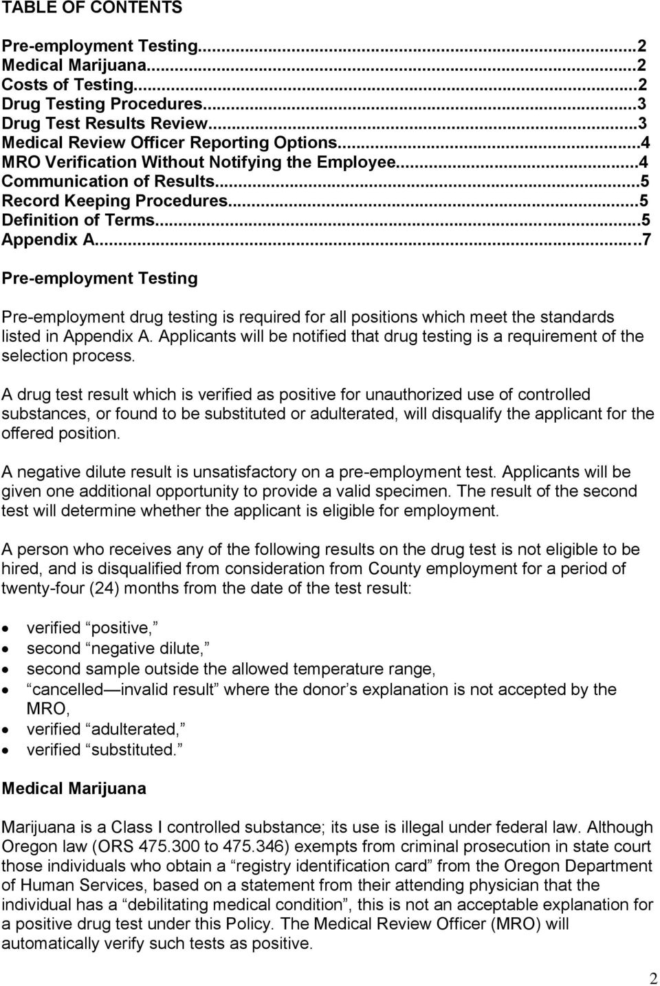 Negative Dilute Drug Test >> Pre Employment Drug Testing Policy Pdf