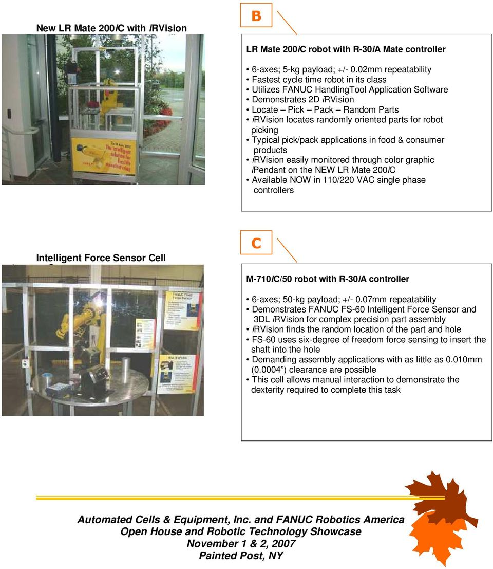 Automated Cells & Equipment, Inc  (ACE) and FANUC Robotics