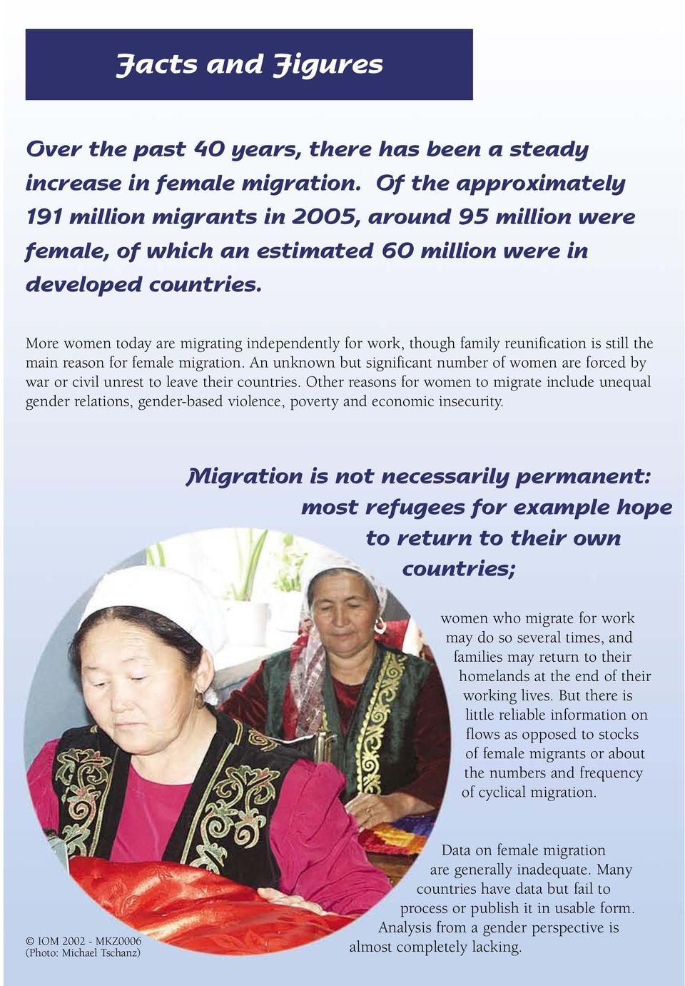 More women today are migrating independently for work, though family reunification is still the main reason for female migration.