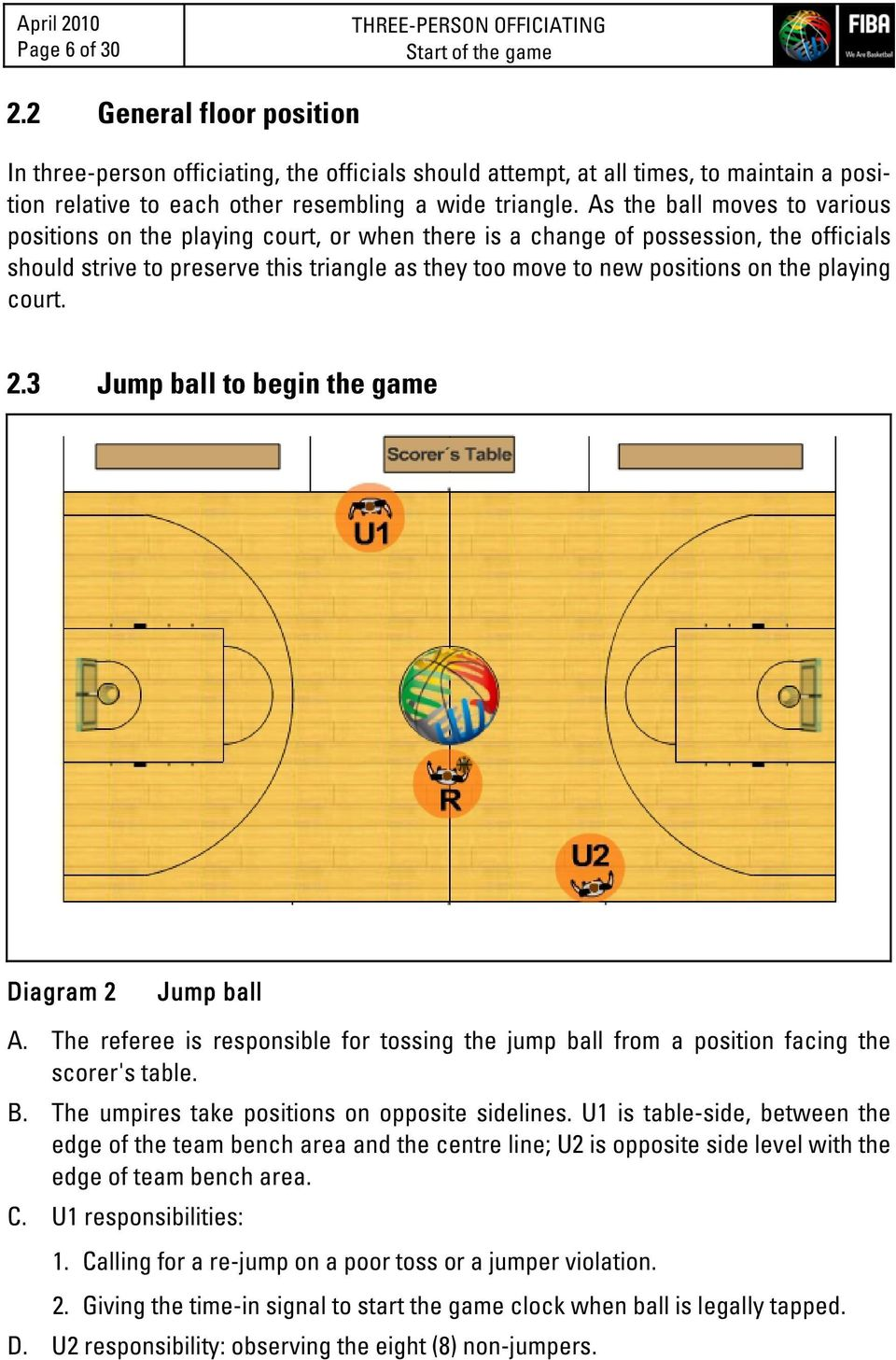 As the ball moves to various positions on the playing court, or when there is a change of possession, the officials should strive to preserve this triangle as they too move to new positions on the