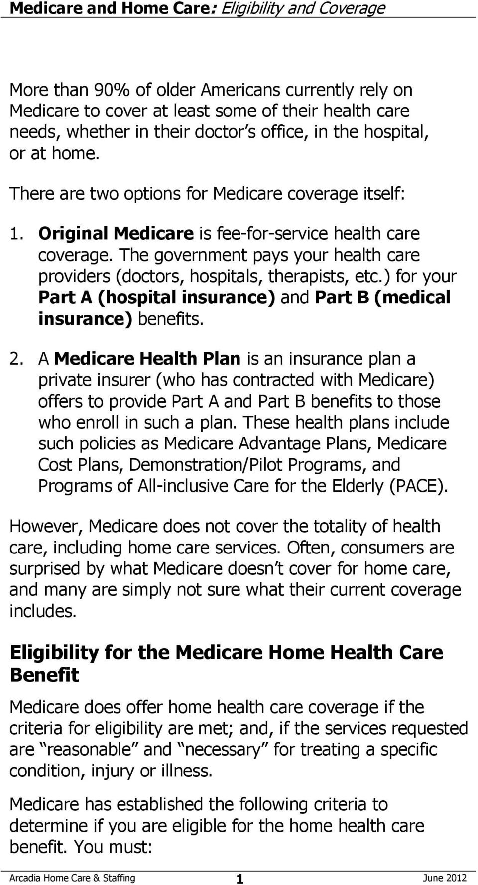 Medicare and Home Care: Eligibility and Coverage - PDF