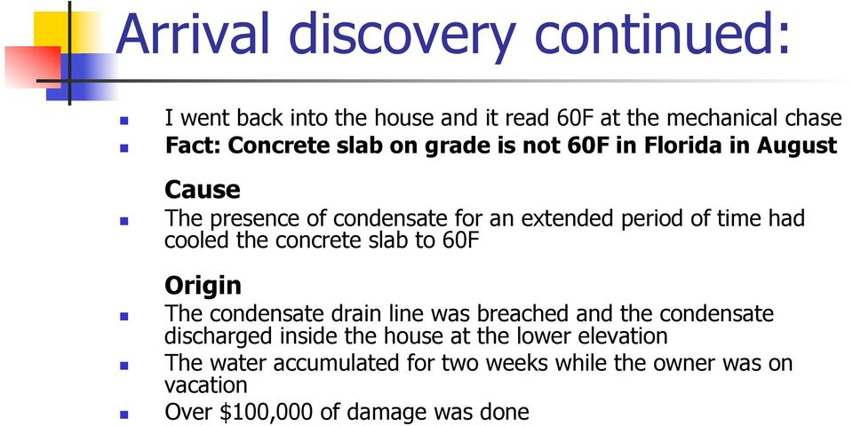 concrete slab to 60F Origin The condensate drain line was breached and the condensate discharged inside the house at