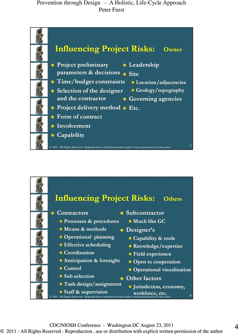 Form of contract Involvement Capability Location/adjacencies Geology/topography 7 Influencing Project Risks: Others Contractors Subcontractor Processes & procedures Means &