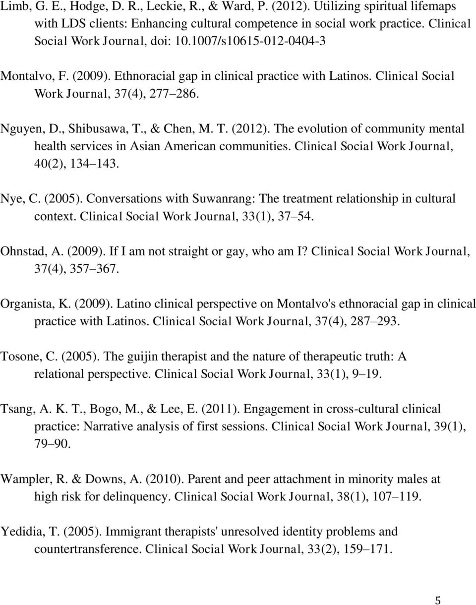 The evolution of community mental health services in Asian American communities. Clinical Social Work Journal, 40(2), 134 143. Nye, C. (2005).
