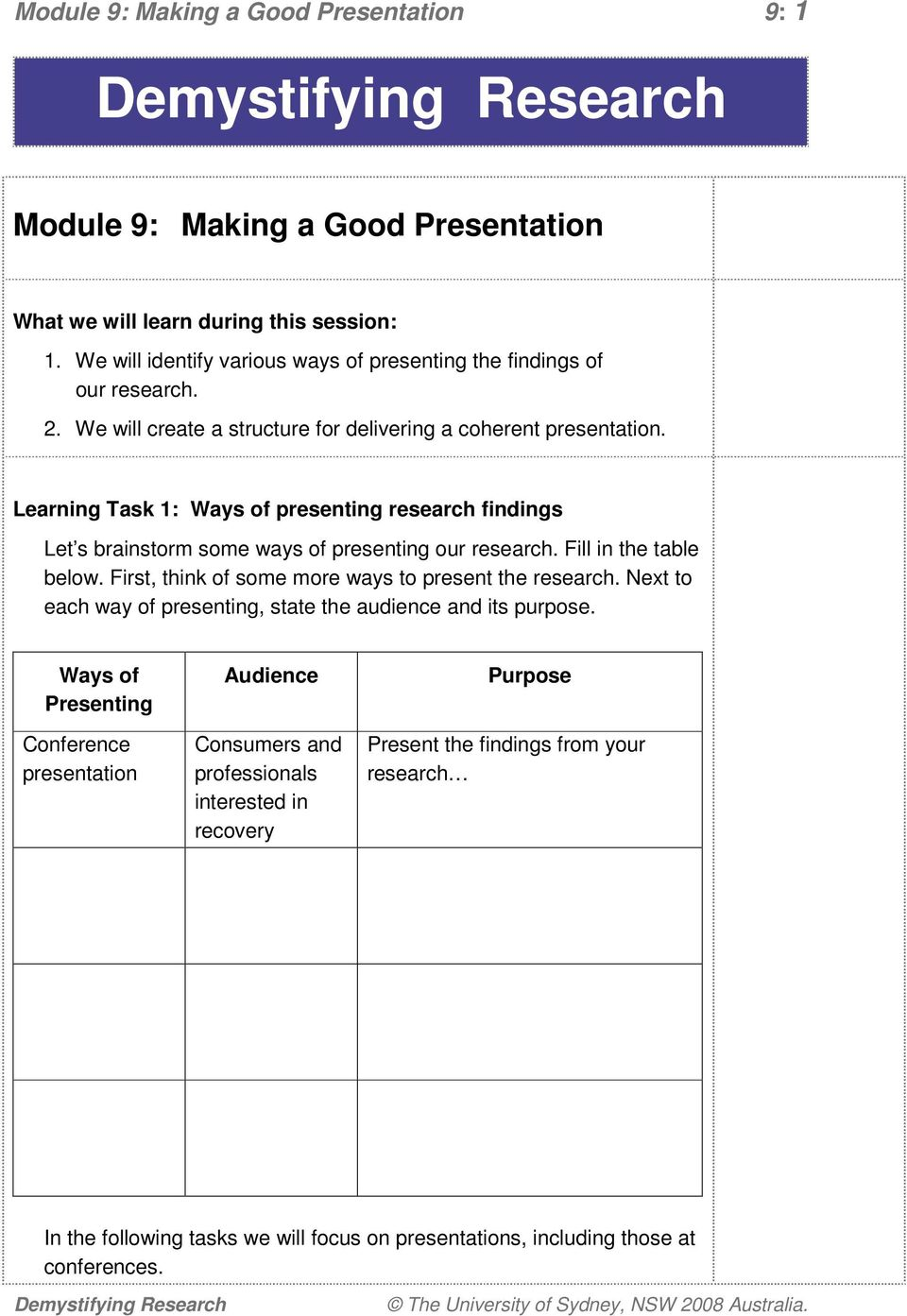 Learning Task 1: Ways of presenting research findings Let s brainstorm some ways of presenting our research. Fill in the table below. First, think of some more ways to present the research.
