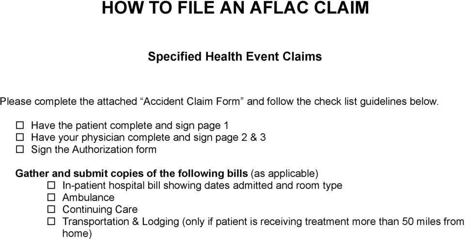 How To File Accident Aflac Claim Pdf