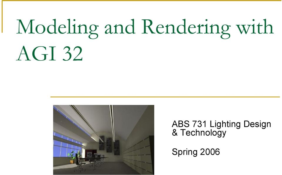 ABS 731 Lighting Design & Technology  Spring PDF