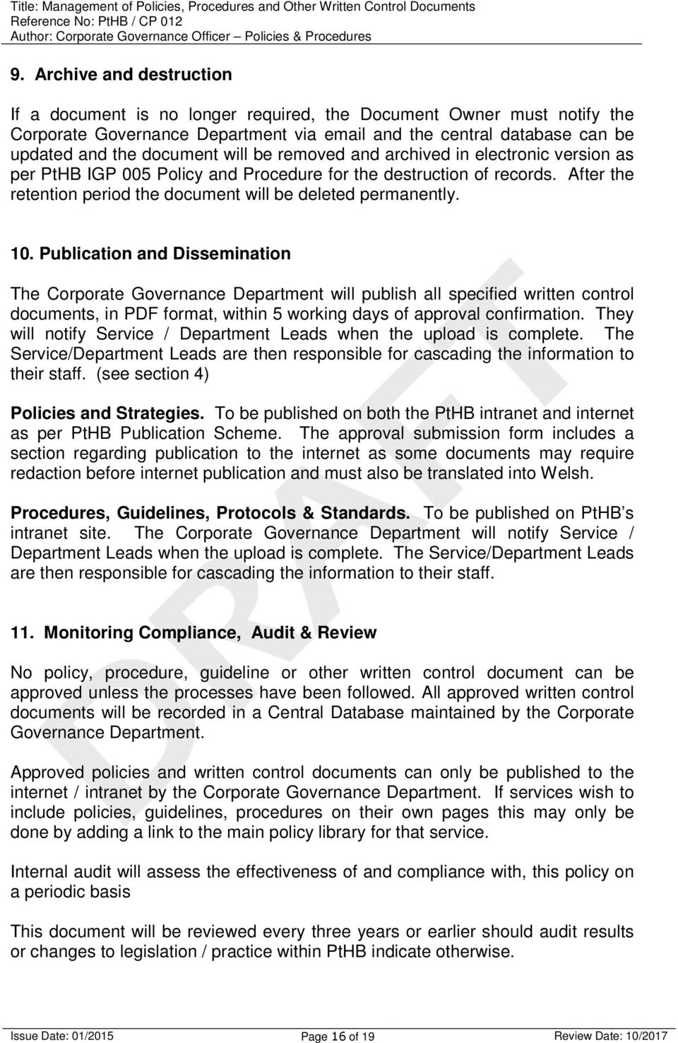 MANAGEMENT OF POLICIES, PROCEDURES AND OTHER WRITTEN CONTROL