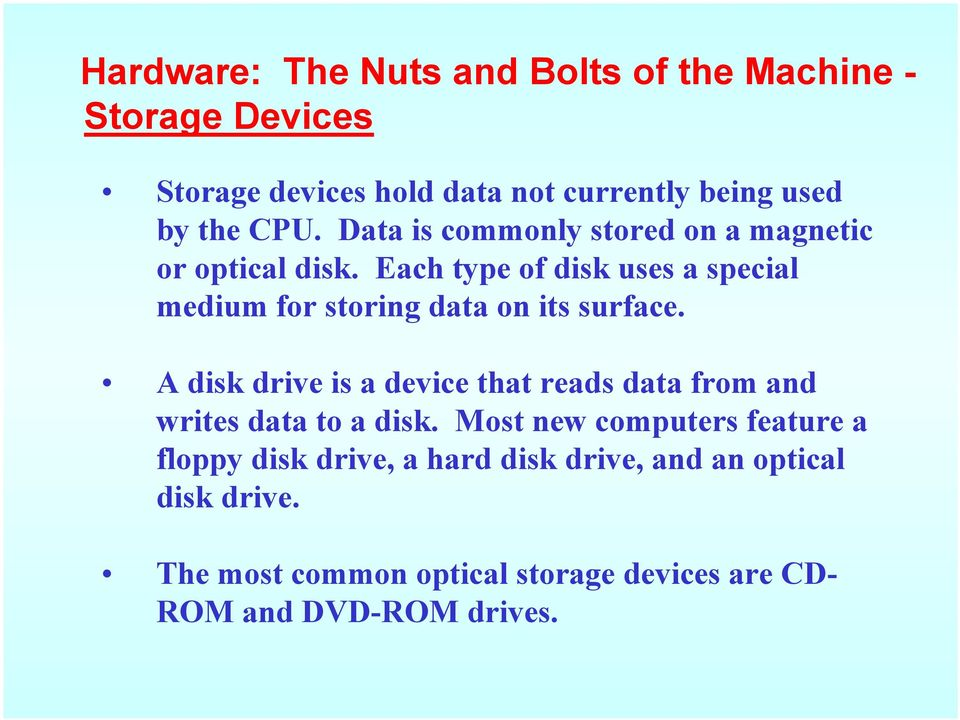 Each type of disk uses a special medium for storing data on its surface.