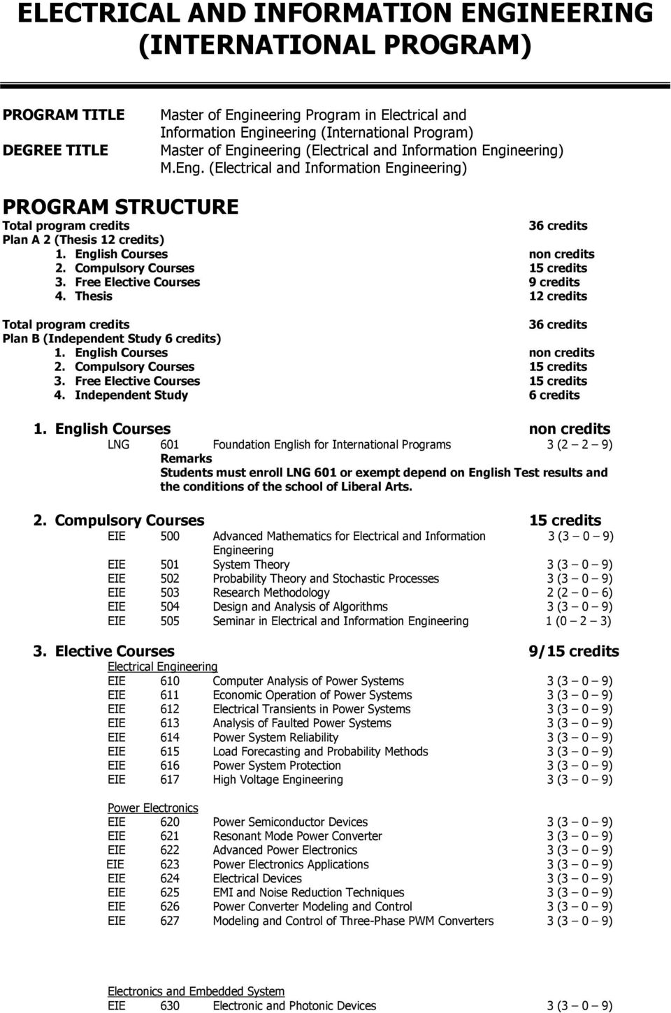 Electrical And Information Engineering International Program Pdf Plan B English Courses Non Credits 2 Compulsory 15 3 Free Elective 9
