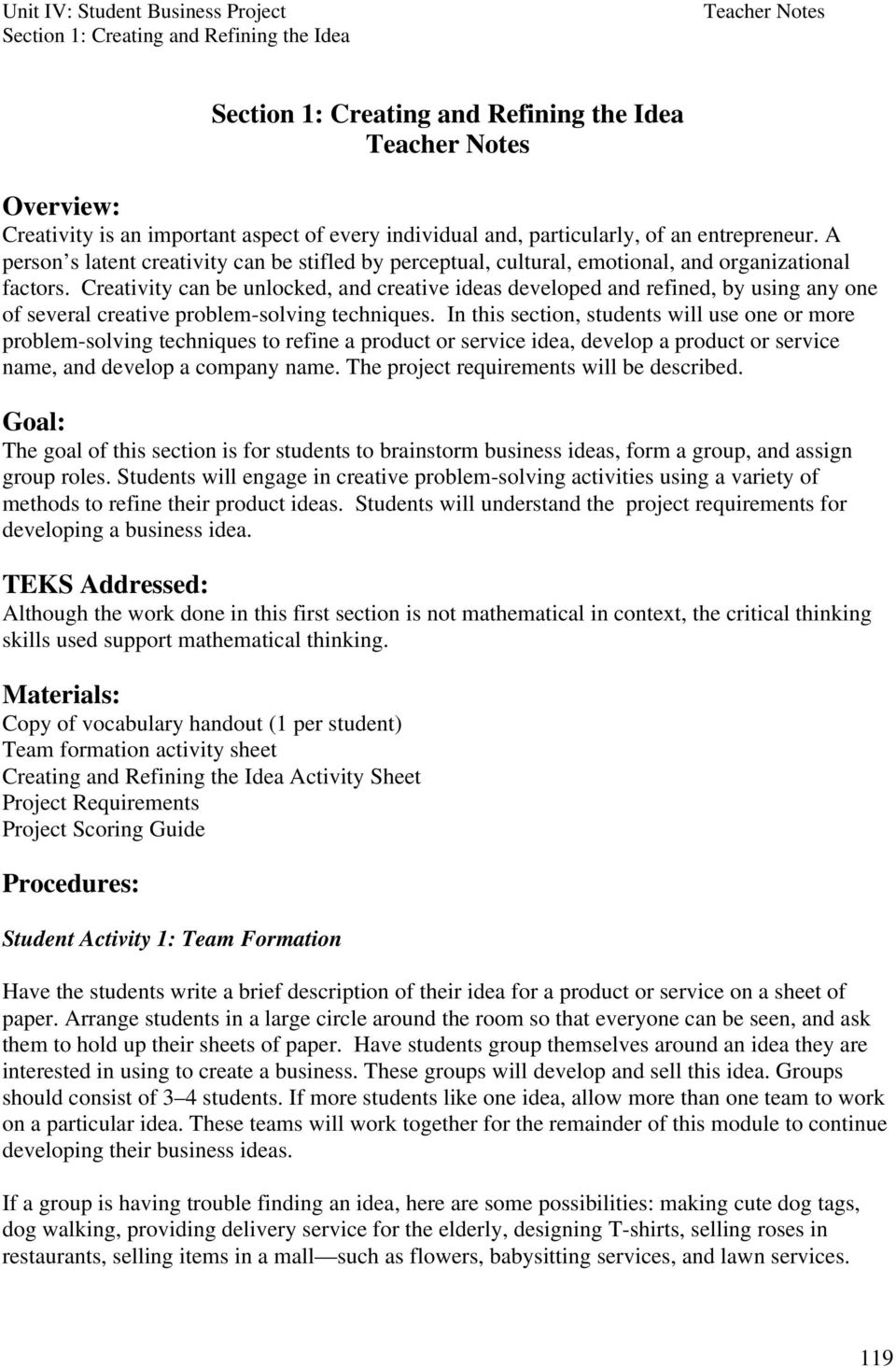 Unit IV: Student Business Project - PDF
