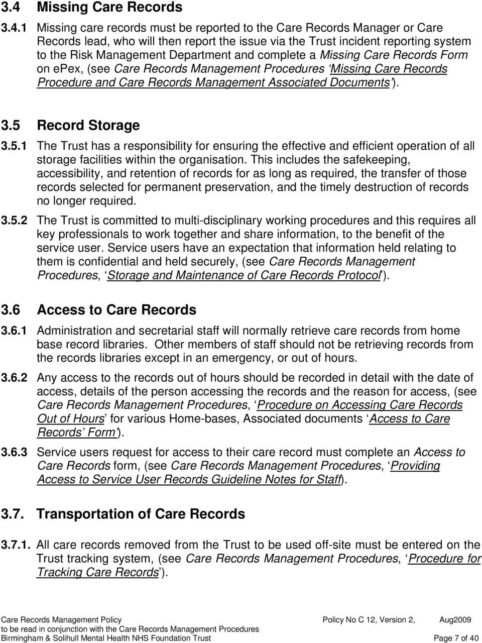 Care Records Management Policy Pdf