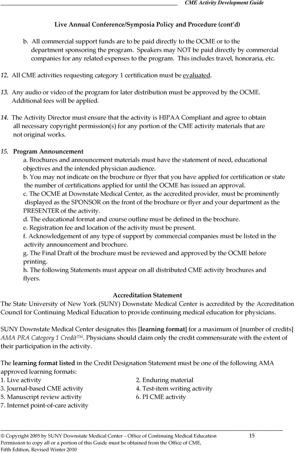 Cme Activity Development Guide Table Of Contents Pdf