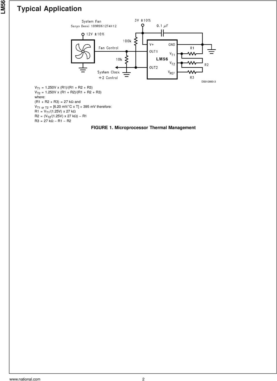 Lm56 Dual Output Low Power Thermostat Pdf Lm555 Lm555c Timer Circuits 20 Mv C X T 395 Therefore R1v T1