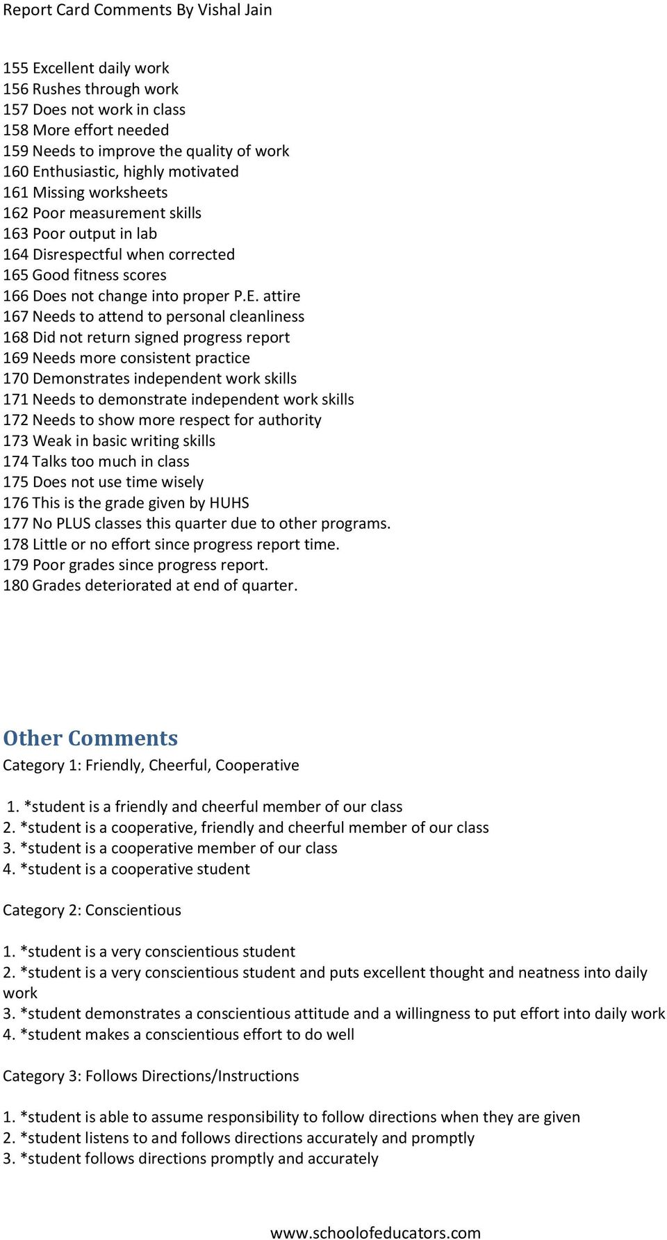 Report Card Comments By Vishal Jain - PDF