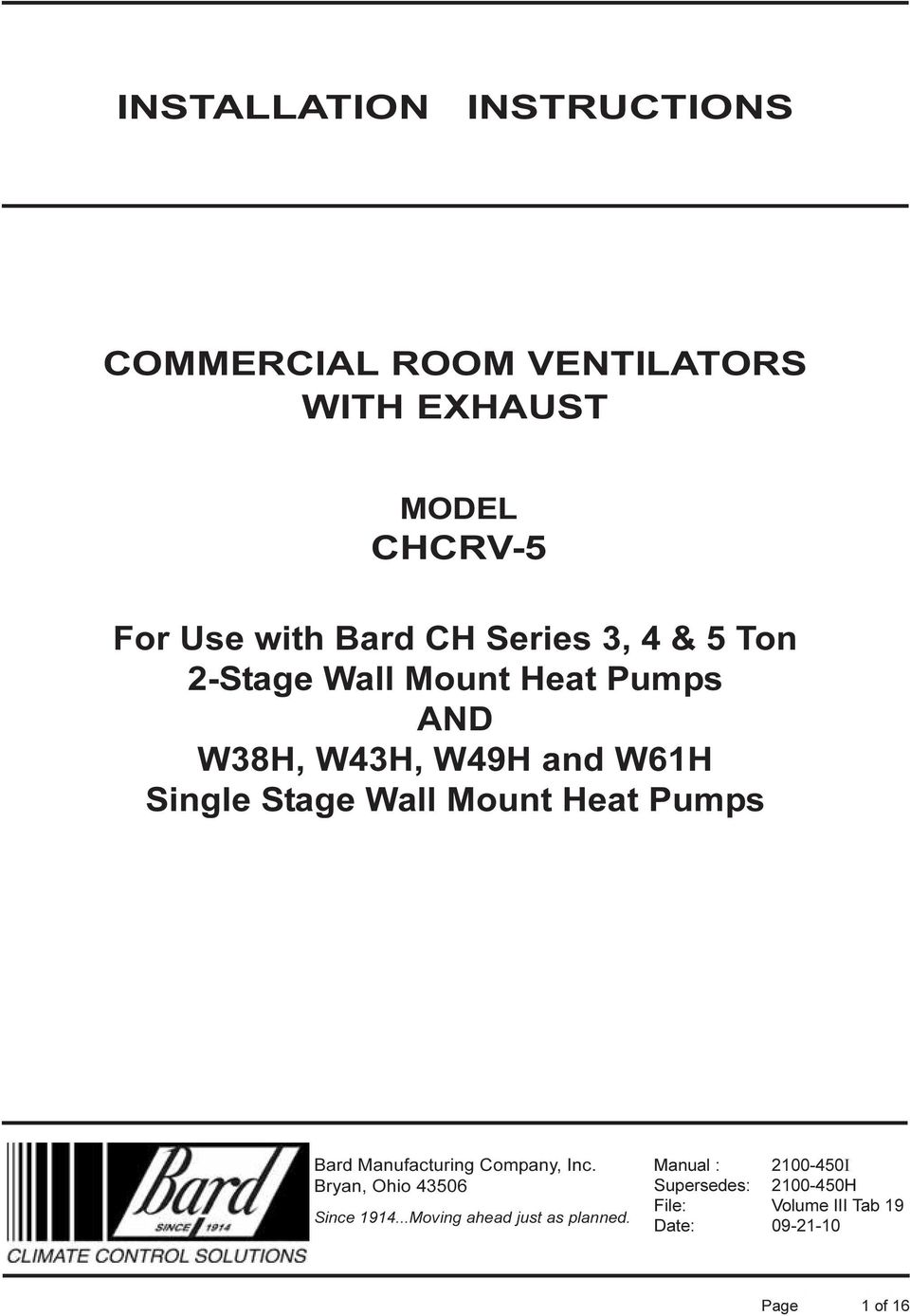 INSTALLATION INSTRUCTIONS COMMERCIAL ROOM VENTILATORS WITH