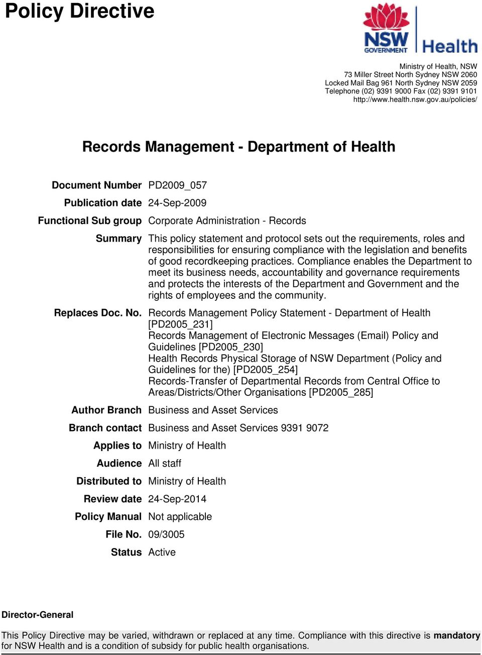 Records Management - Department of Health - PDF
