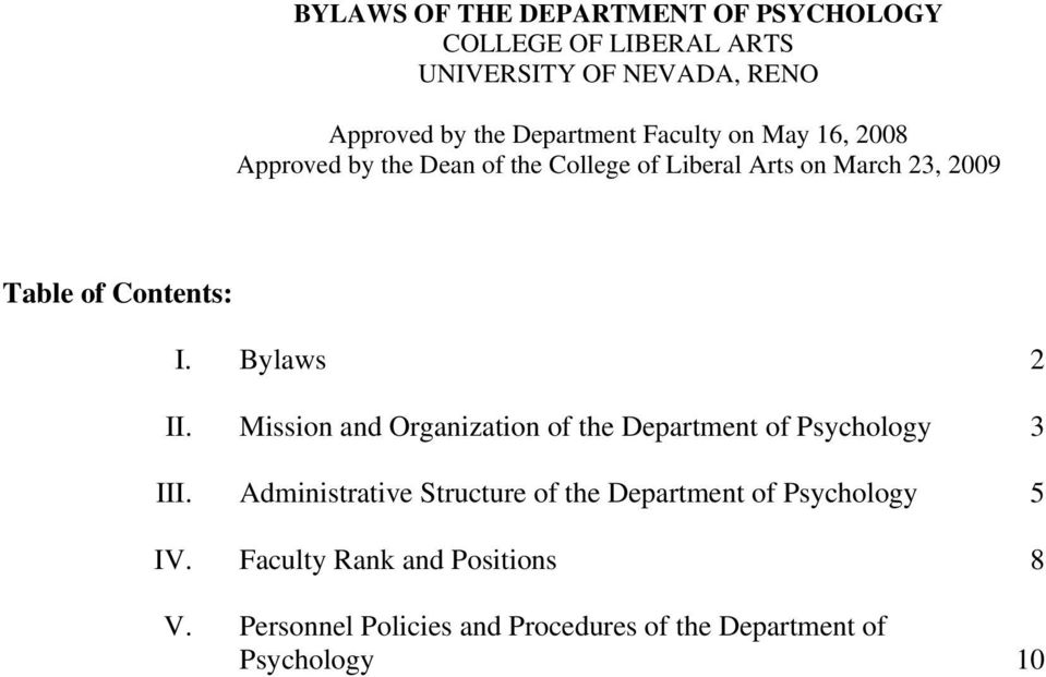 Bylaws 2 II. Mission and Organization of the Department of Psychology 3 III.
