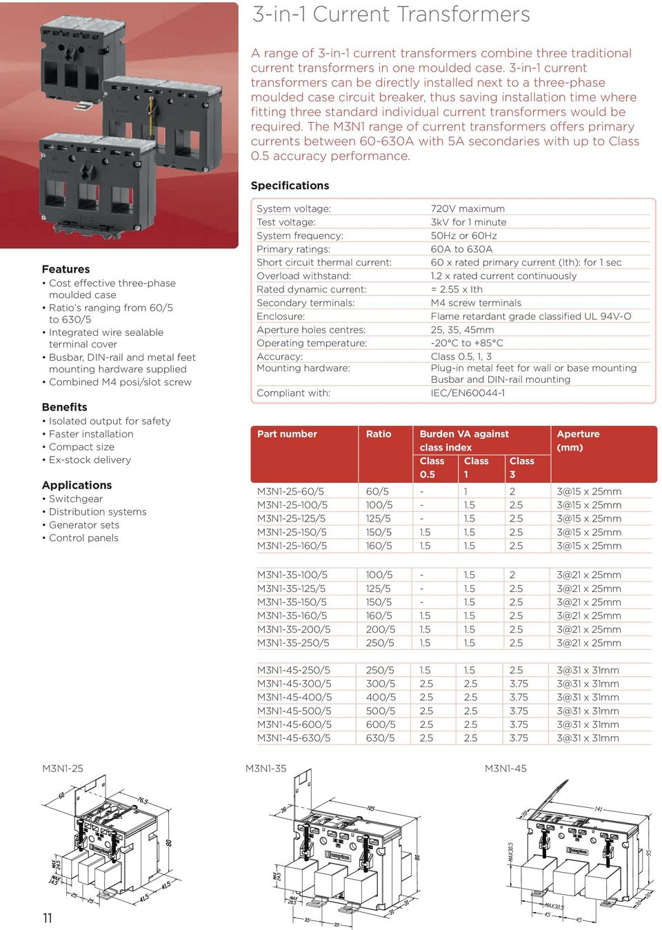 Tape Wound Split Core And Ebony Current Transformers Pdf Basic Transformer Wiring Diagram The M3n1 Range Of Offers Primary Currents Between 60