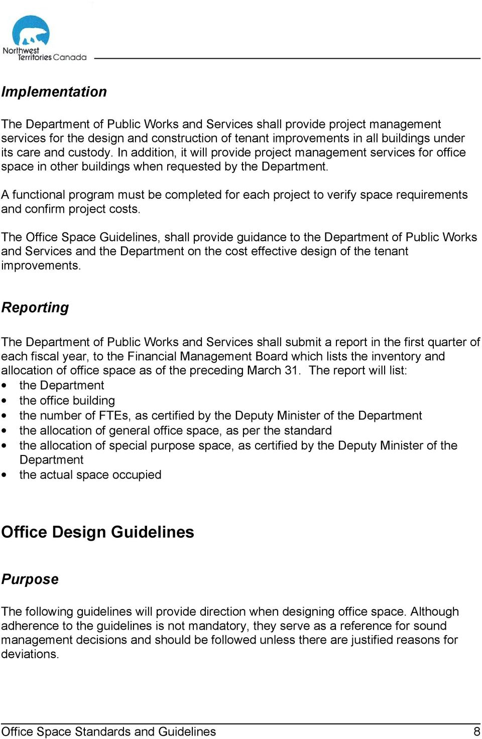 office space standards and guidelines pdf