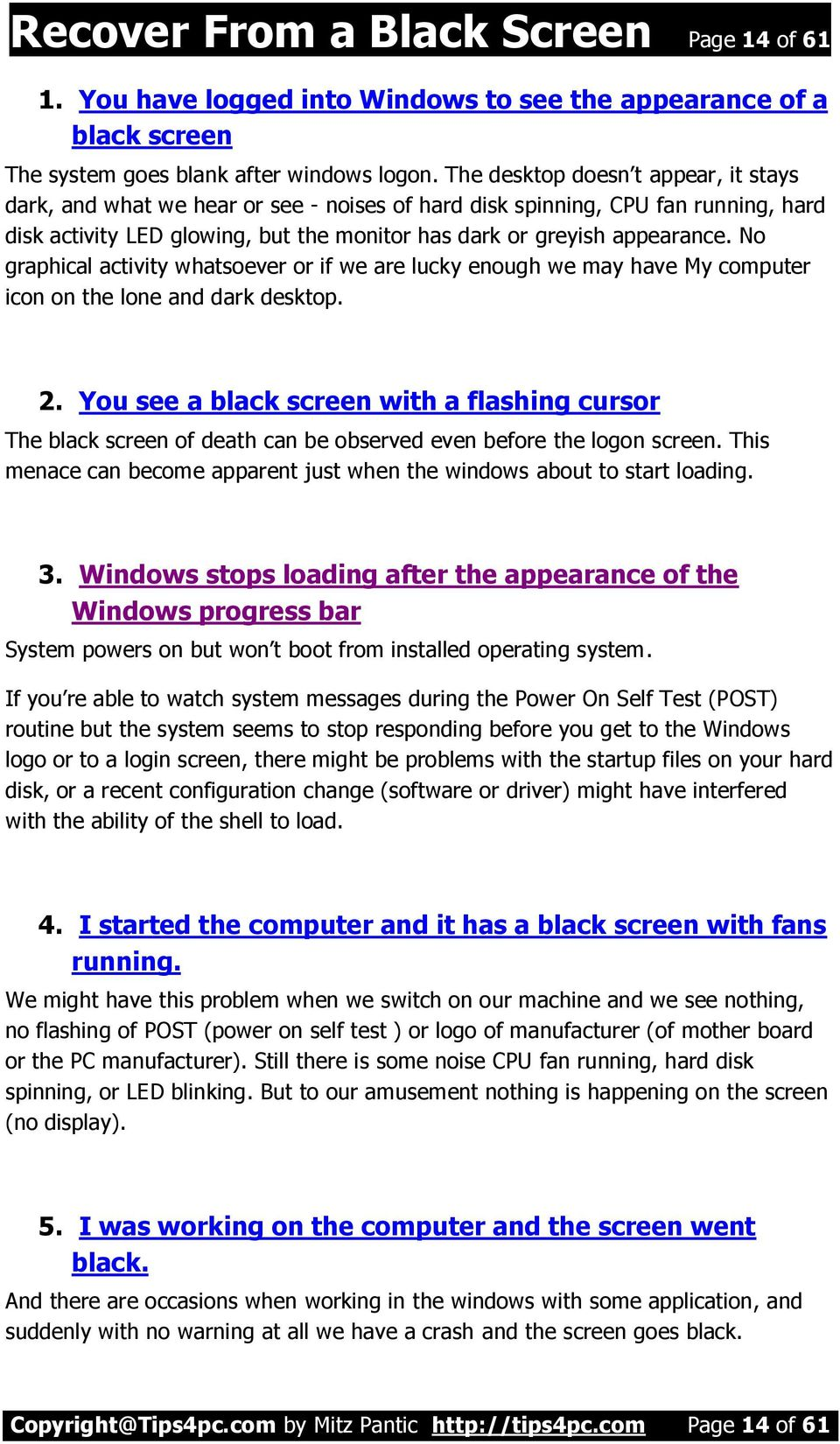 Recover Your Computer from a Black Screen - PDF