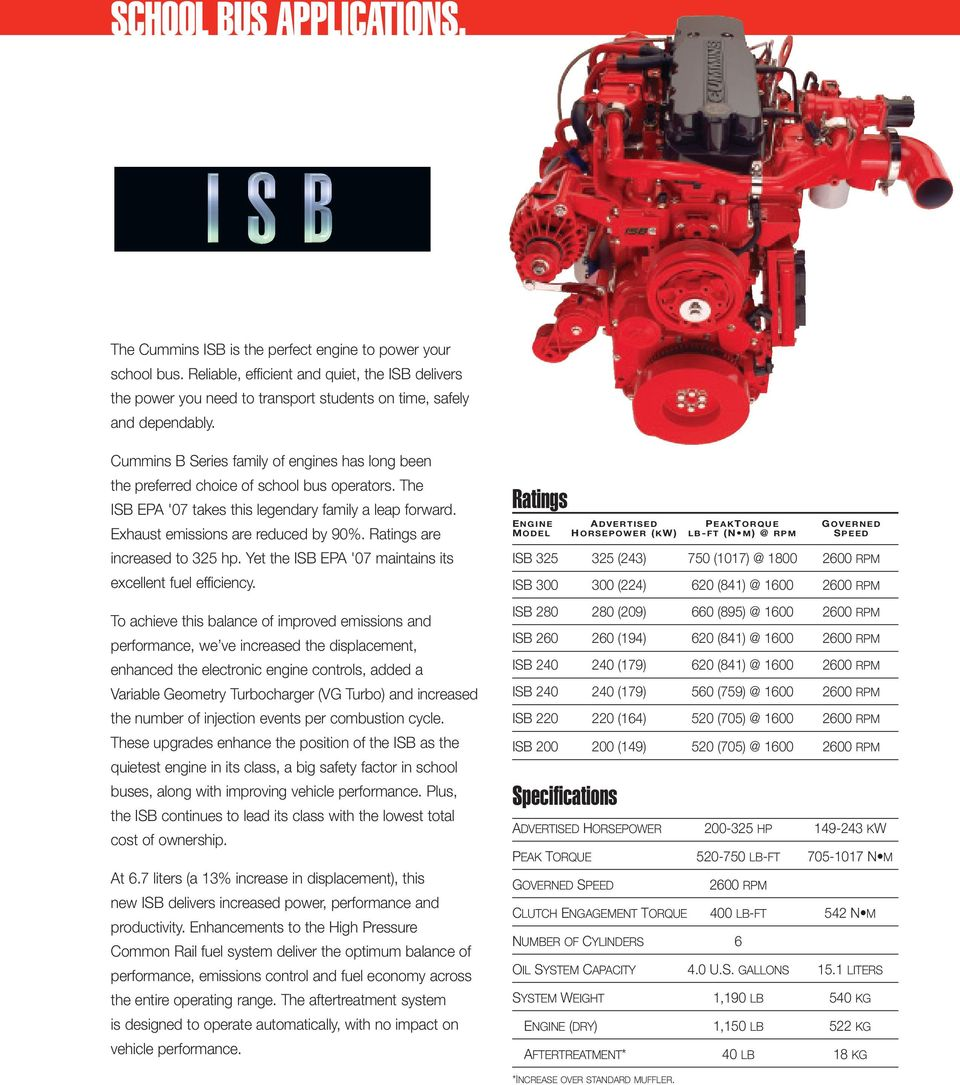 Cummins B Series family of engines has long been the preferred choice of school bus operators. The ISB EPA '07 takes this legendary family a leap forward. Exhaust emissions are reduced by 90%.