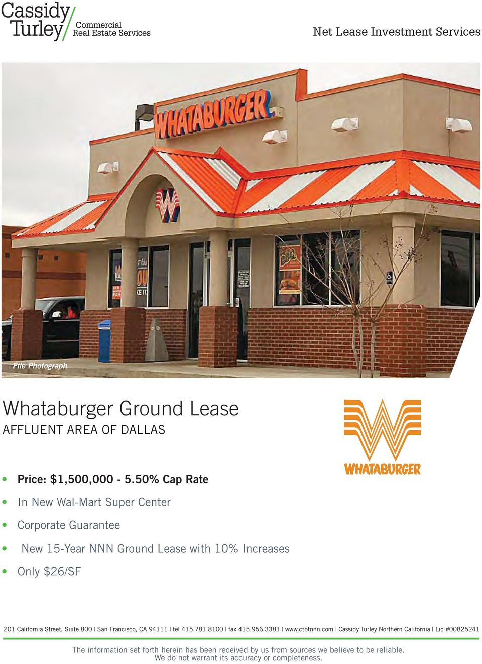 Whataburger Ground Lease AFFLUENT AREA OF DALLAS  Net Lease