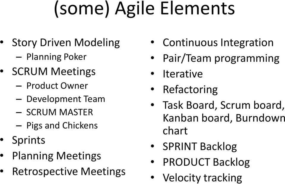 Meetings Continuous Integration Pair/Team programming Iterative Refactoring Task Board,