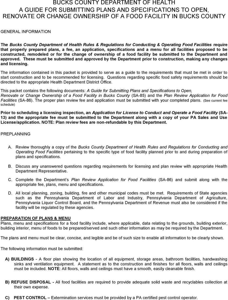 BUCKS COUNTY DEPARTMENT OF HEALTH PLAN REVIEW APPLICATION FOR FOOD