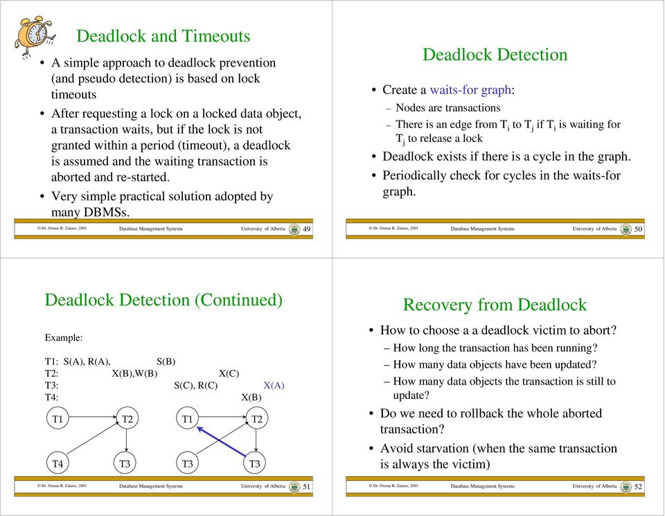 University of Alberta 49 Deadlock Detection Create a waits-for graph: Nodes are transactions There is an edge from T i to T j if T i is waiting for T j to release a lock Deadlock exists if there is a
