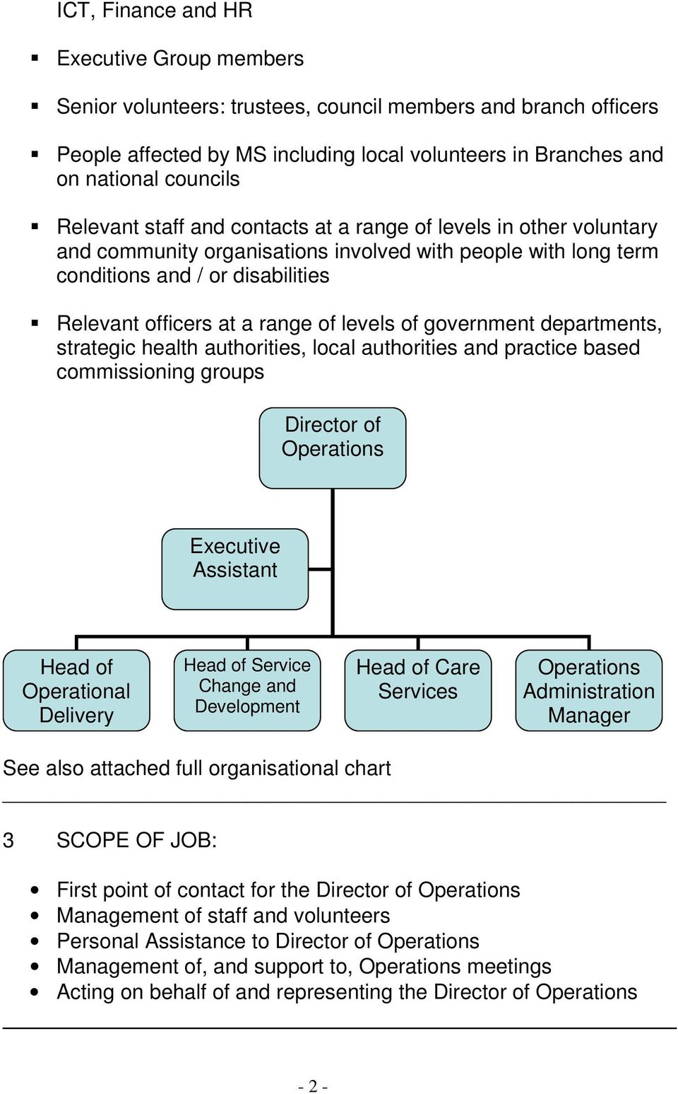 levels of government departments, strategic health authorities, local authorities and practice based commissioning groups Director of Executive Assistant Head of Operational Delivery Head of Service