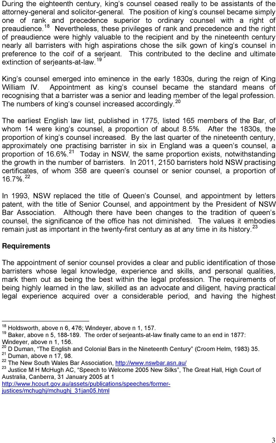 Senior Counsel: Recognition, Review, Requirements