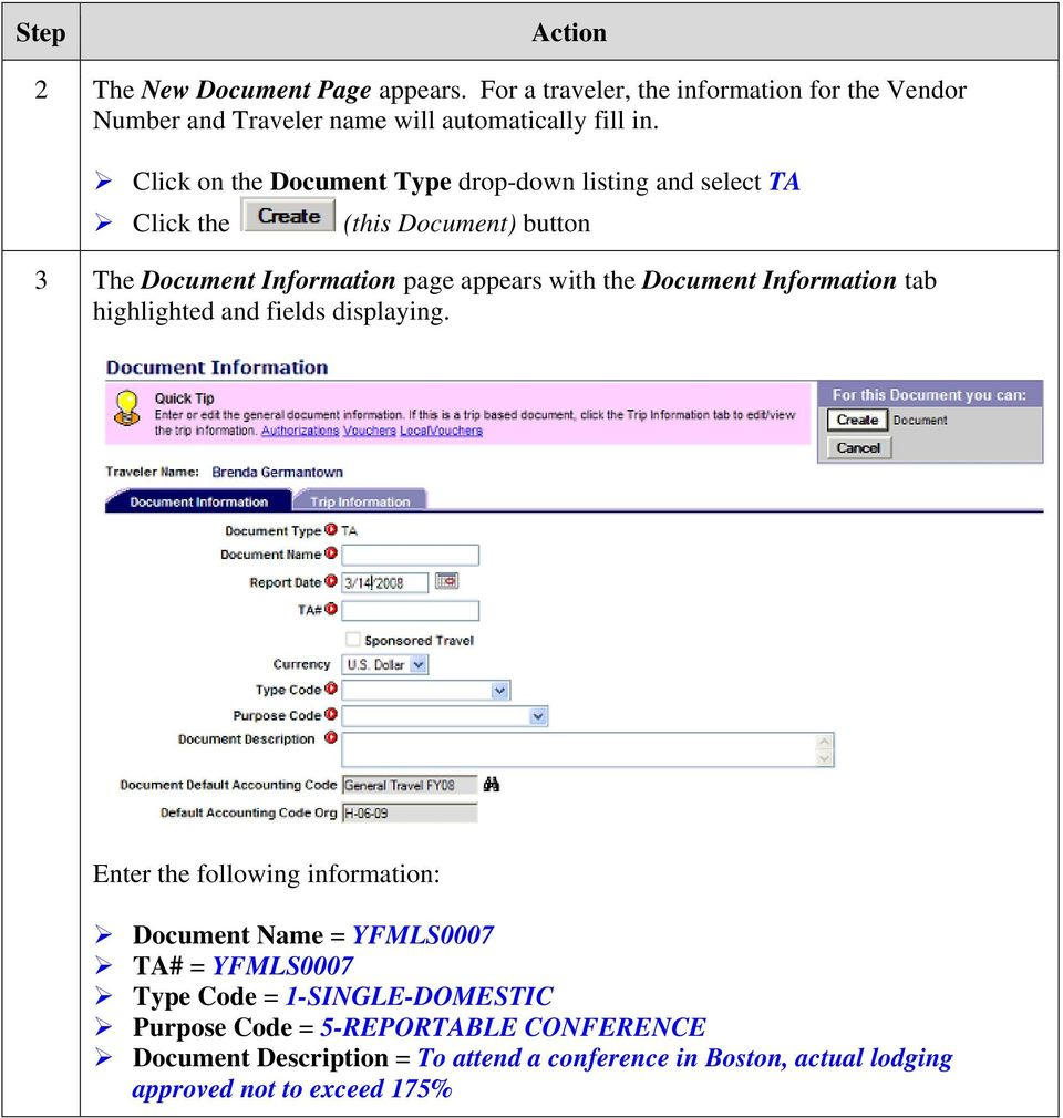 Document Information tab highlighted and fields displaying.