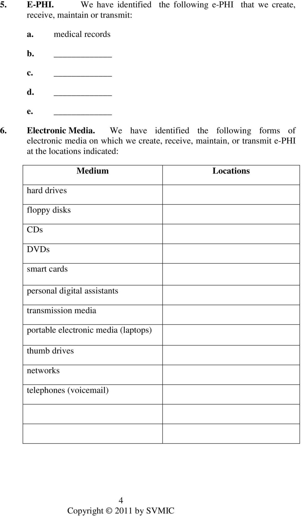We have identified the following forms of electronic media on which we create, receive, maintain, or transmit e-phi at