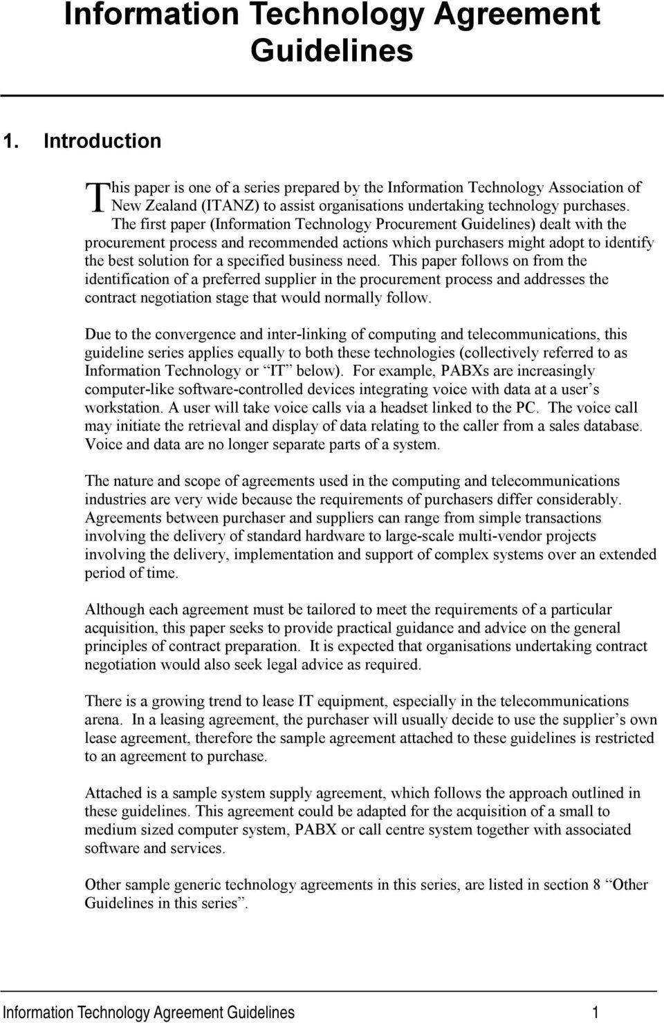 Information Technology Agreement Guidelines Pdf