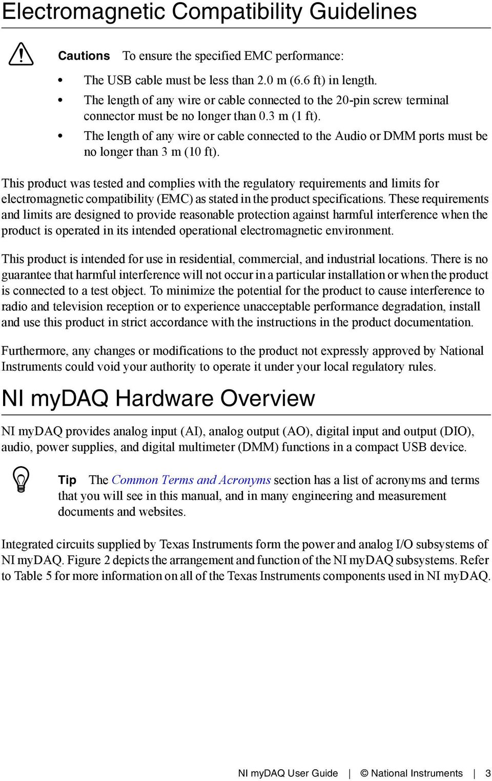 Nicom Manuals Figure 1 Ni Mydaq Power Supply Usb Current Limiter Texas Instruments Circuit Experiments For Experiment User Guide National 3 The Length Of Any Wire Or Cable Connected To Audio Dmm Ports Must Be