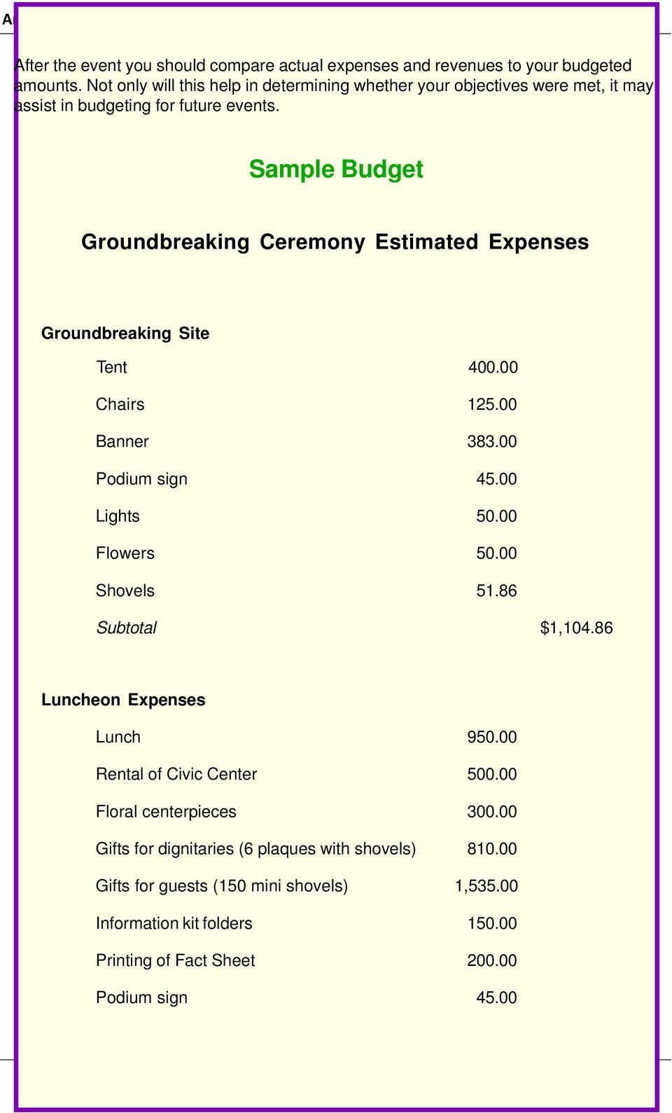 Sample Budget Groundbreaking Ceremony Estimated Expenses Groundbreaking Site Tent 400.00 Chairs 125.00 Banner 383.00 Podium sign 45.00 Lights 50.00 Flowers 50.
