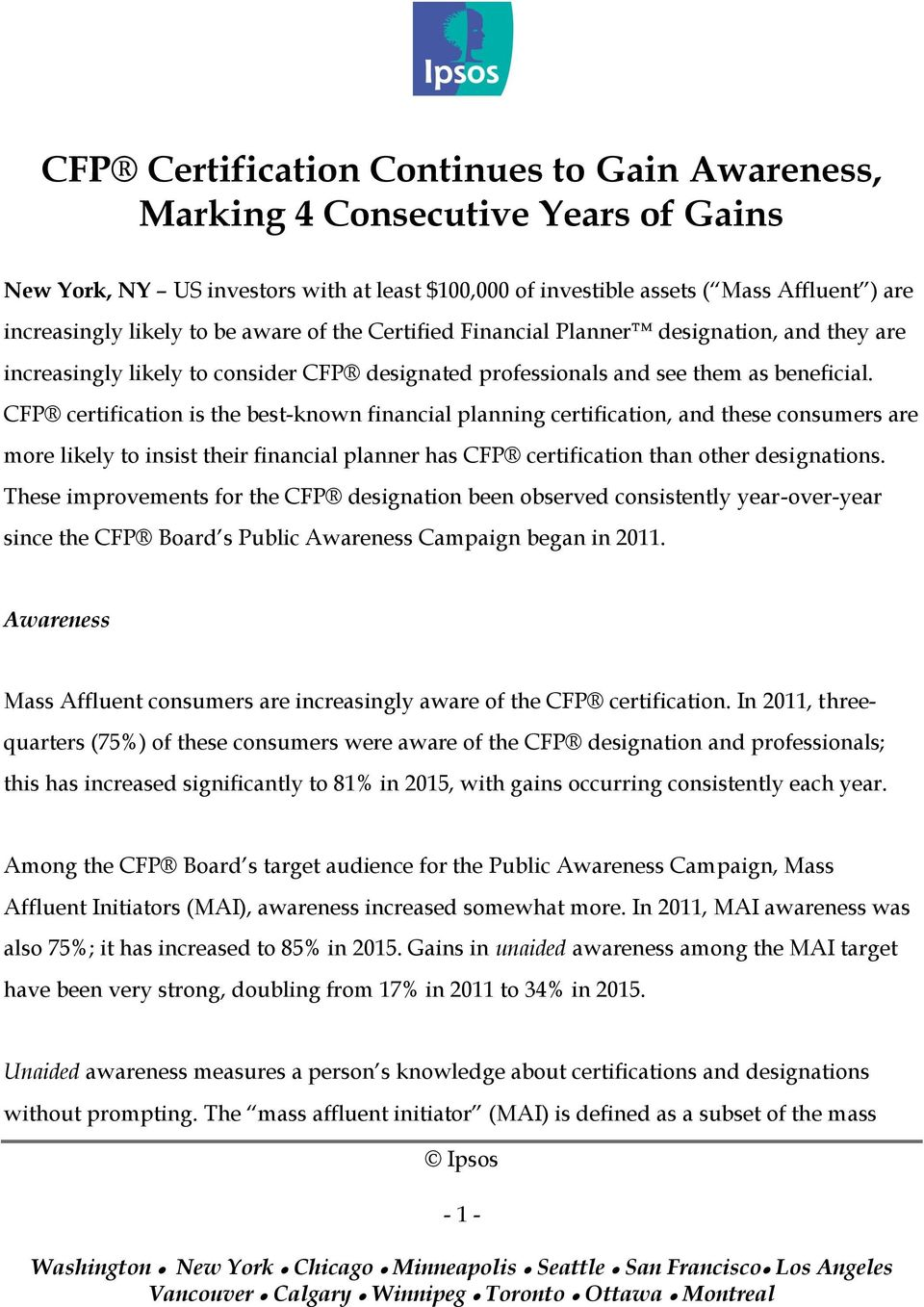 Cfp Certification Continues To Gain Awareness Marking 4 Consecutive