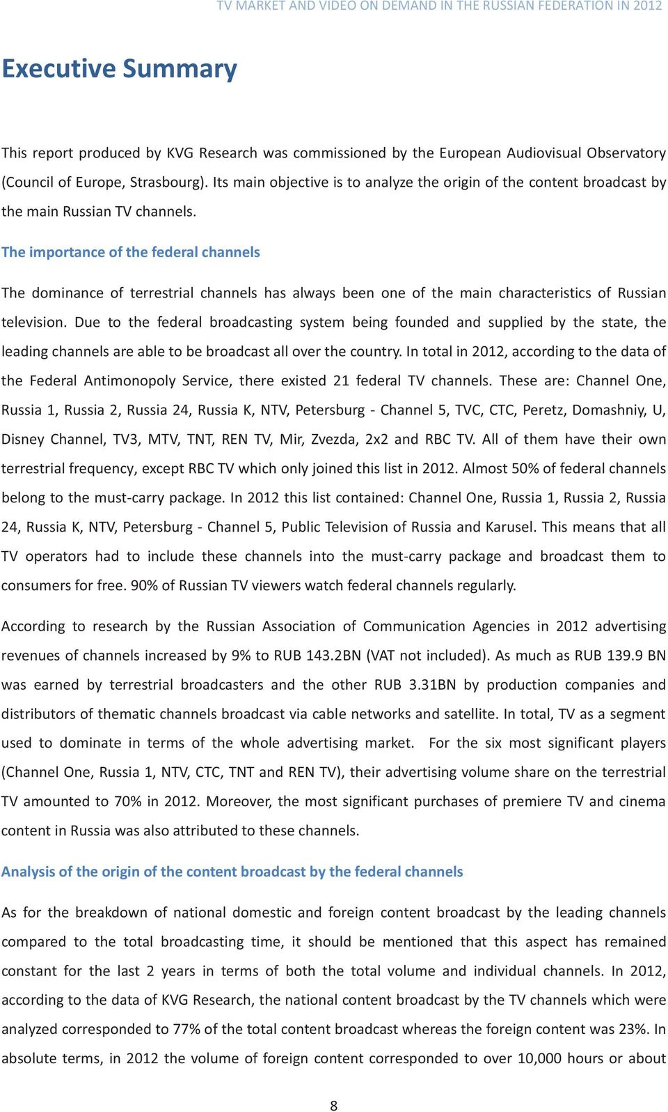 TV Market and Video on Demand in the Russian Federation - PDF