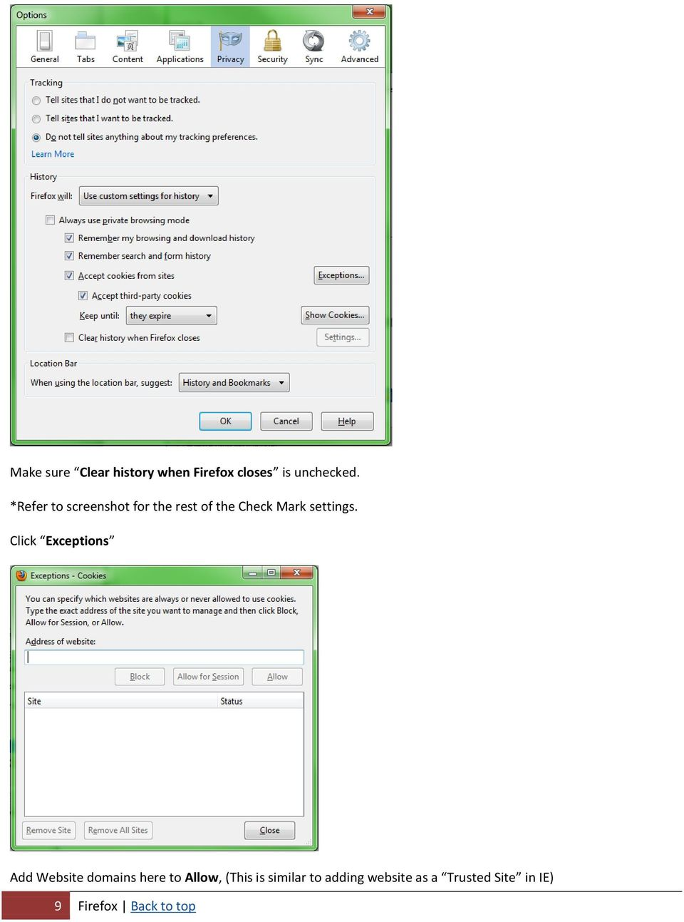 BROWSER SETTINGS- TROUBLESHOOTING GUIDE  Internet Explorer  Firefox