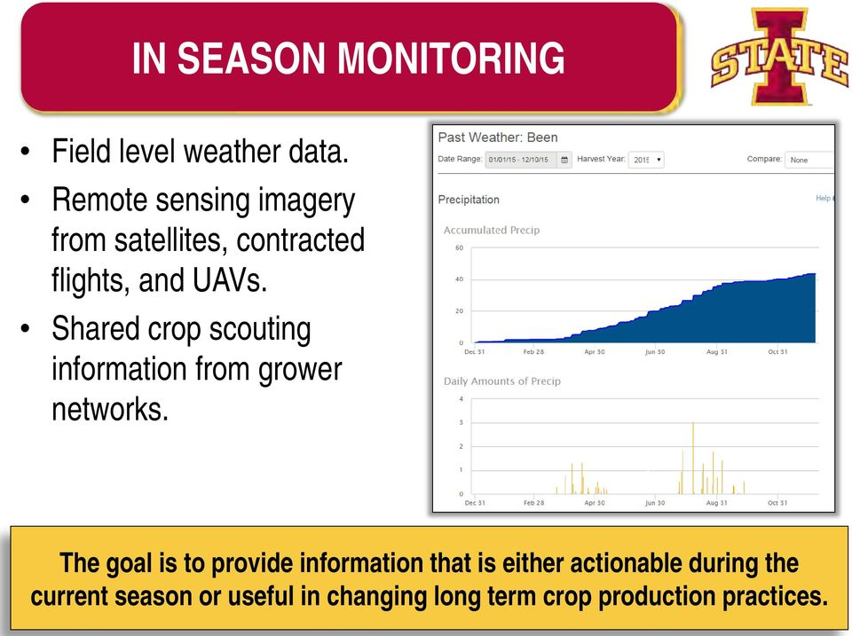 Shared crop scouting information from grower networks.