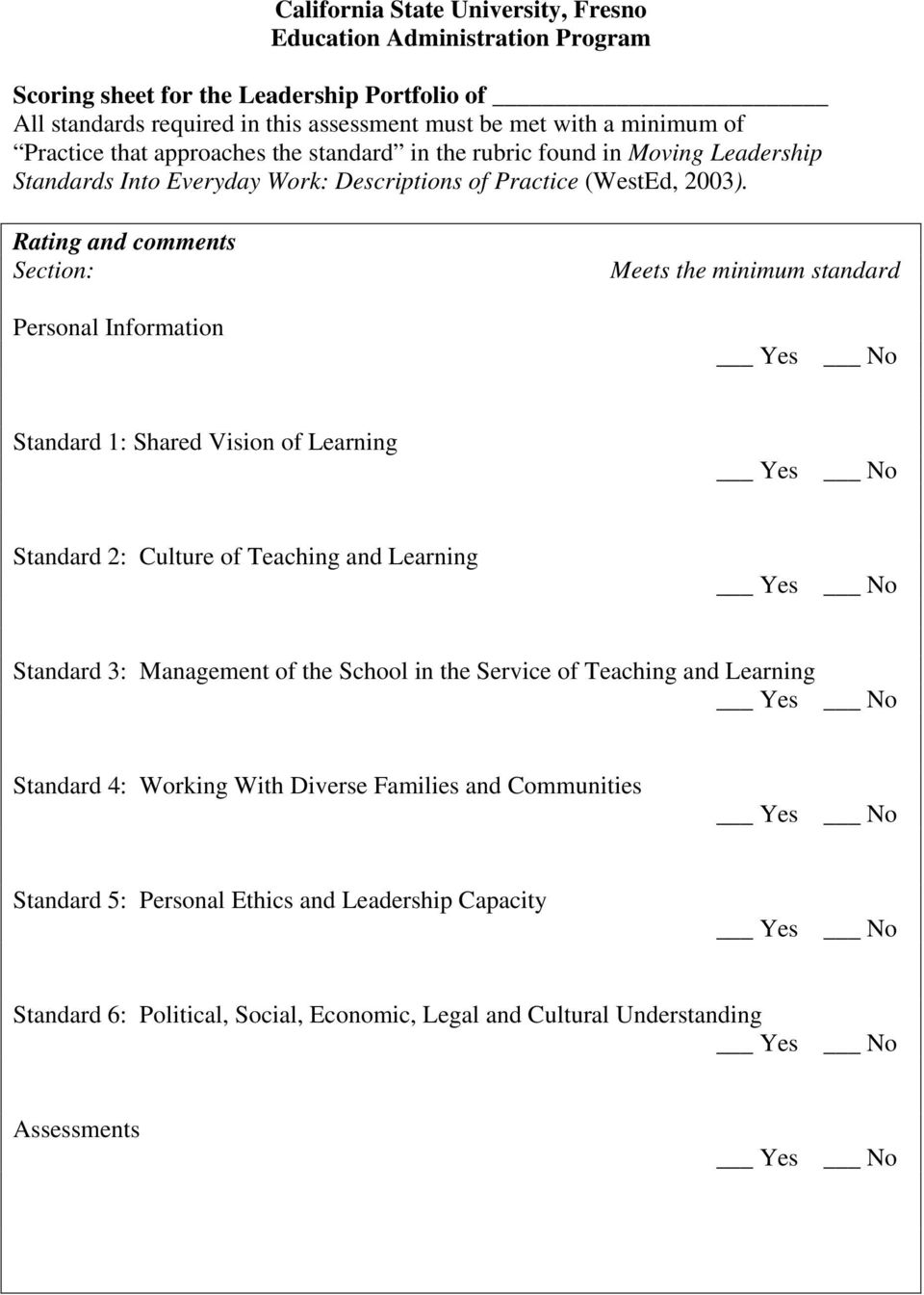 Rating and comments Section: Personal Information Meets the minimum standard Standard 1: Shared Vision of Learning Standard 2: Culture of Teaching and Learning Standard 3: Management of the