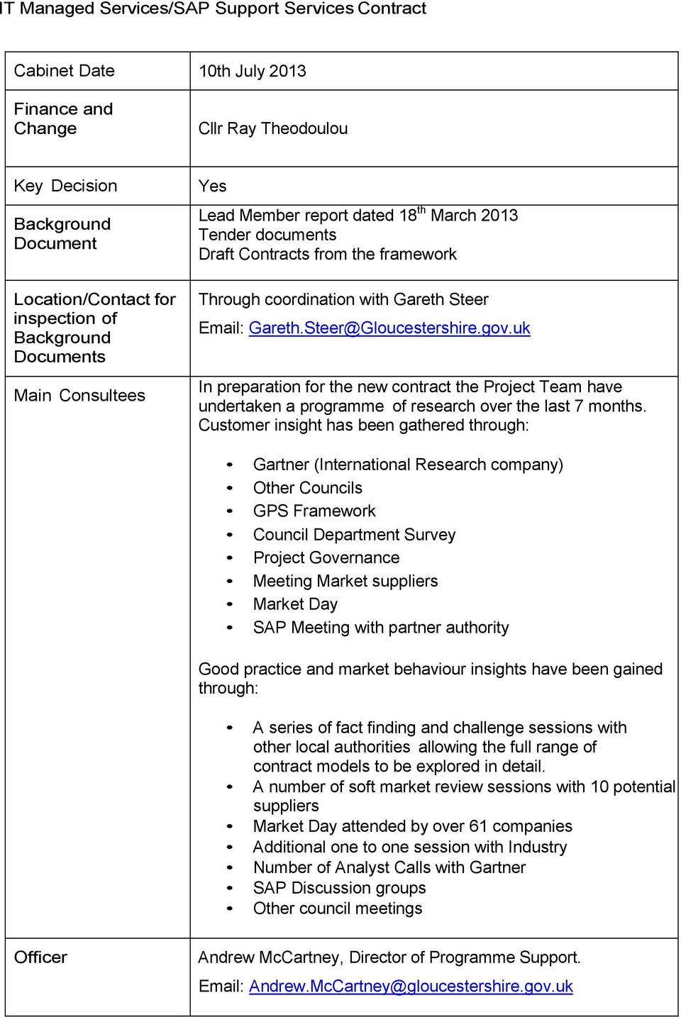 gov.uk In preparation for the new contract the Project Team have undertaken a programme of research over the last 7 months.