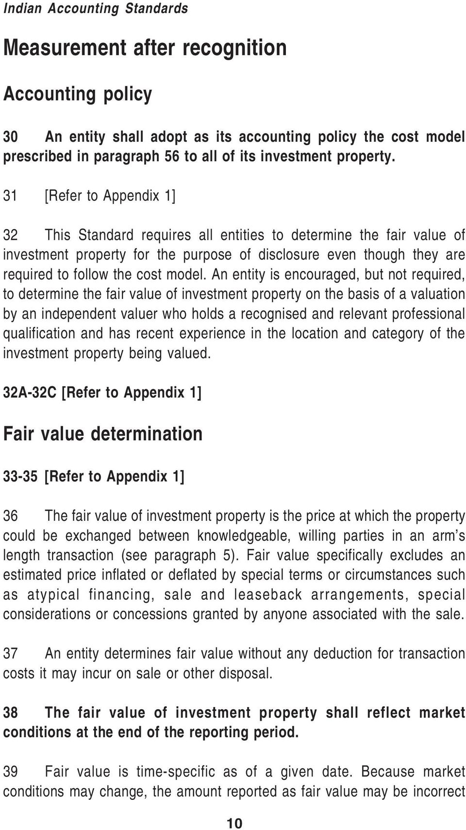 31 [Refer to Appendix 1] 32 This Standard requires all entities to determine the fair value of investment property for the purpose of disclosure even though they are required to follow the cost model.
