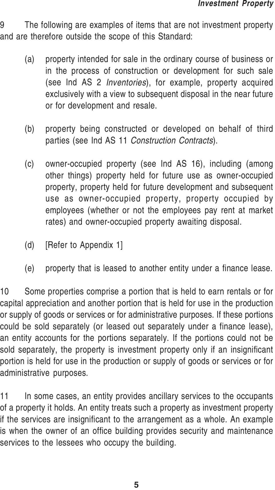 or for development and resale. property being constructed or developed on behalf of third parties (see Ind AS 11 Construction Contracts).