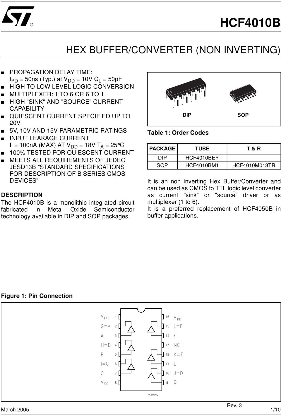 "PARAMETRIC RATINGS INPUT LEAKAGE CURRENT I I = 100nA (MAX) AT V DD = 18V T A = 25 C 100% TESTED FOR QUIESCENT CURRENT MEETS ALL REQUIREMENTS OF JEDEC JESD13B ""STANDARD SPECIFICATIONS FOR DESCRIPTION"