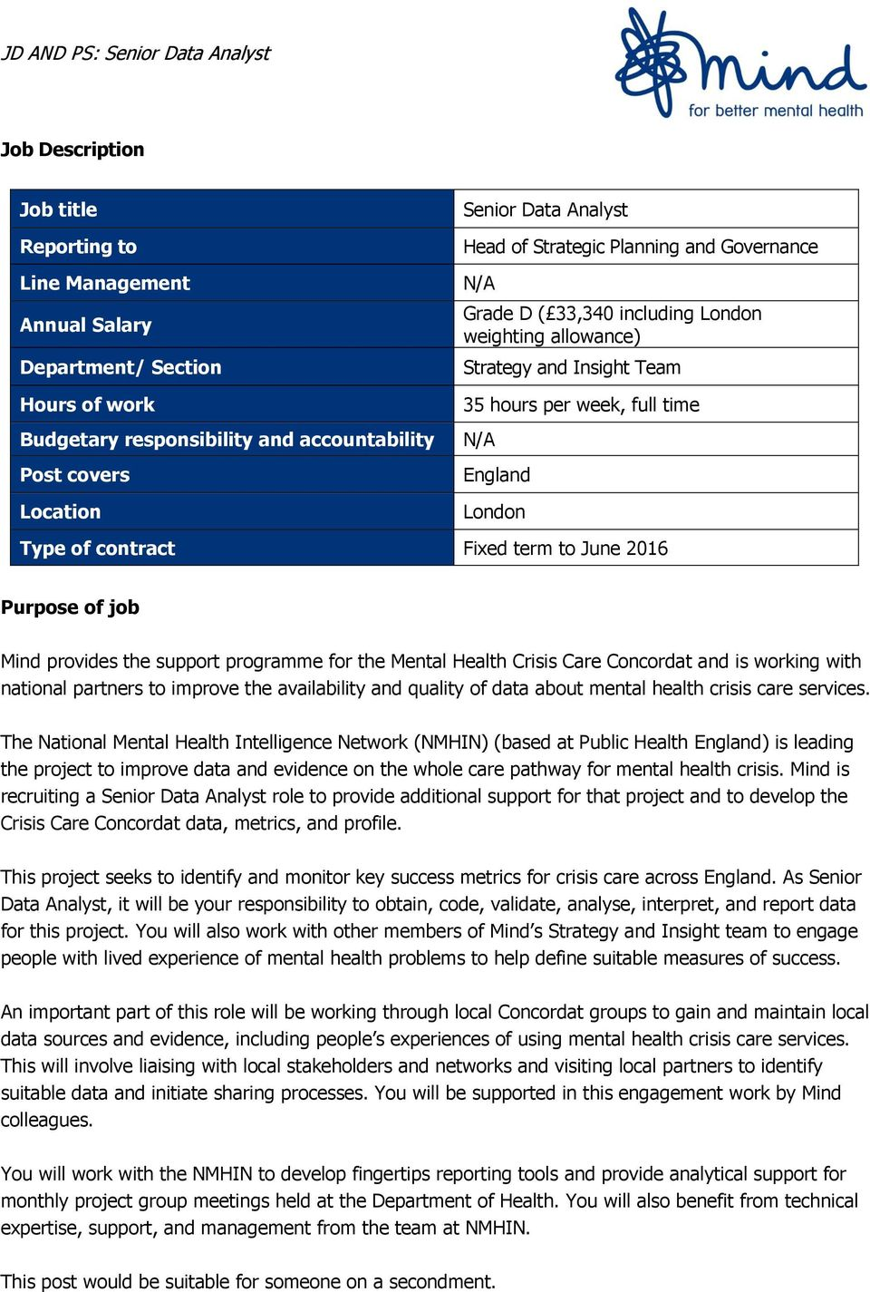 June 2016 Purpose of job Mind provides the support programme for the Mental Health Crisis Care Concordat and is working with national partners to improve the availability and quality of data about