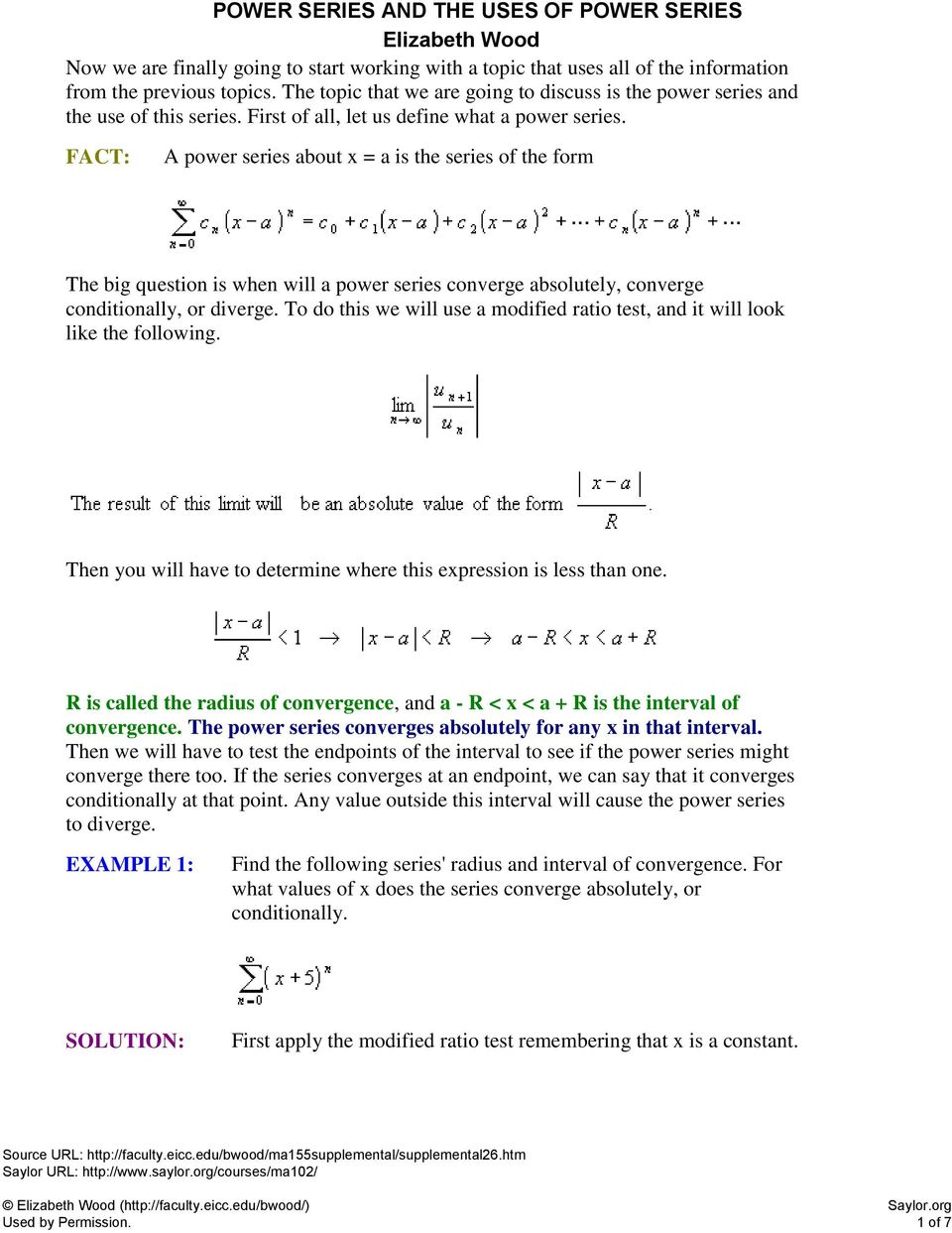 A power series about x = a is the series of the form - PDF